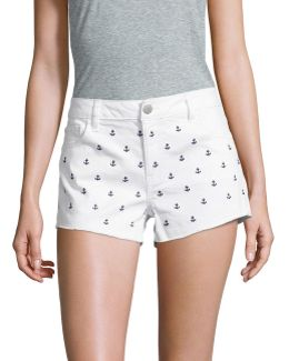 Anchor Embroidery Denim Shorts