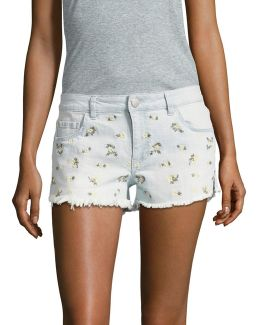Tossed Ditsy Embroidery Denim Shorts
