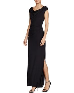 Slim-fit Beaded Strap Matte Jersey Gown
