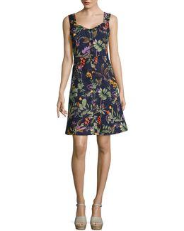 Sleeveless Button Front Tropical Dress