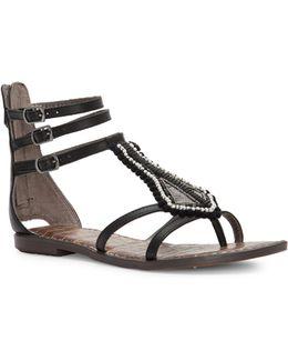 Garner Beaded Leather Gladiator Sandals