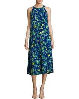 Petite Printed Halter Midi Dress