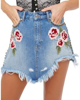 Wild Rose Embroidered Mini Skirt