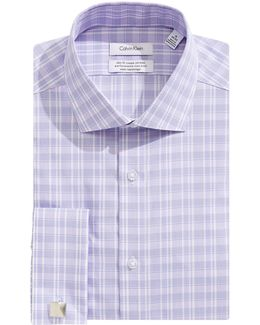 Steel Slim-fit Plaid French Cuff Dress Shirt