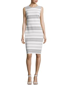 Ribbed Stripe Sheath Dress