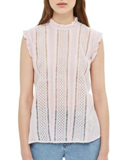 Broderie Stripe Ruffle Top