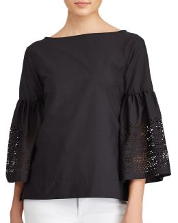 Petite Laser-cut Cotton-blend Shirt