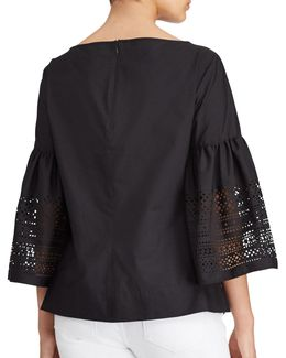 Petite Laser-cut Cotton-blend Shirt