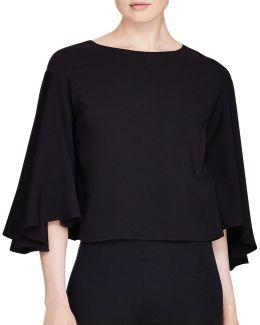 Petite Lavinnia Bell-sleeve Cropped Shirt