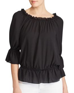 Petite Ordisty Georgette Off-the-shoulder Top