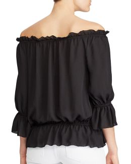 Petite Ordisty Georgette Off-the-shoulder Top