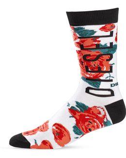 Logo Lettering Rose Socks