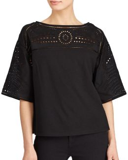Petite Eyelet-embroidered Top