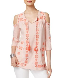 Petite Embroidered Cold-shoulder Top
