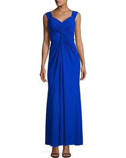 Mesh Front Knot Sheath Gown