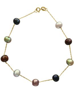 14k Yellow Gold And 5.5mm Dyed Freshwater Pearl Station Bracelet