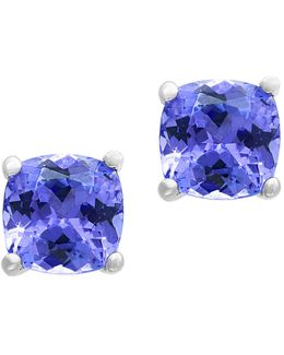 Tanzanite And Sterling Silver Stud Earrings