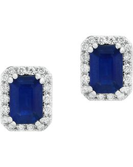 14k White Gold Sapphire And 0.19tcw Diamond Stud Earrings