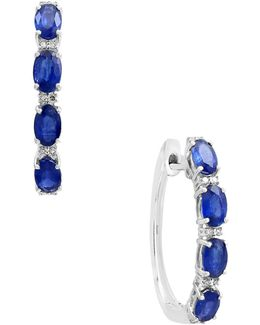 14k White Gold Sapphire And 0.07tcw Diamond Hoop Earrings