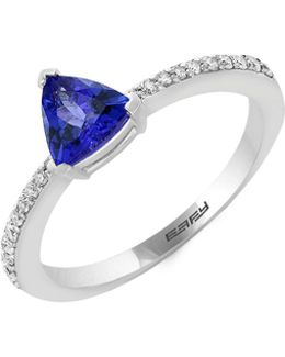 14k White Gold Tanzanite And 0.13tcw Diamond Ring