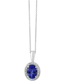14k White Gold Tanzanite And 0.08tcw Diamond Pendant Necklace