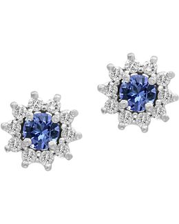 14k White Gold Tanzanite And 0.25tcw Diamond Stud Earrings