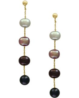 5.5mm-6mm Multi-hued Freshwater Pearls And 14k Yellow Gold Linear Drop Earrings