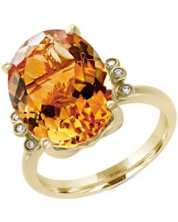 14k Yellow Gold Citrine And 0.03tcw Diamond Ring