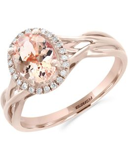 14k Rose Gold Morganite And 0.09tcw Diamond Ring
