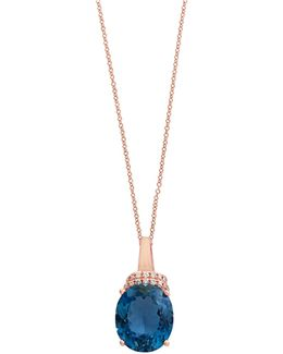 14k Rose Gold Blue Topaz And 0.06tcw Diamond Pendant Necklace