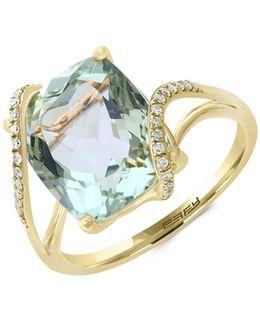 14k Yellow Gold Green Amethyst And 0.09tcw Diamond Ring