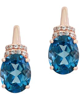 14k Rose Gold Blue Topaz And 0.08tcw Diamond Stud Earrings