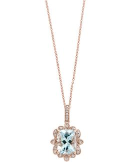14k Rose Gold Aquamarine And 0.07tcw Diamond Pendant Necklace