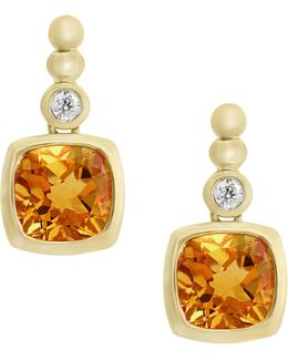14k Yellow Gold Citrine And 0.04tcw Diamond Earrings