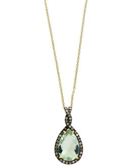 14k Yellow Gold Green Amethyst And 0.35tcw Brown Diamond Pendant Necklace
