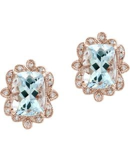 14k Rose Gold Aquamarine And 0.09tcw Diamond Stud Earrings
