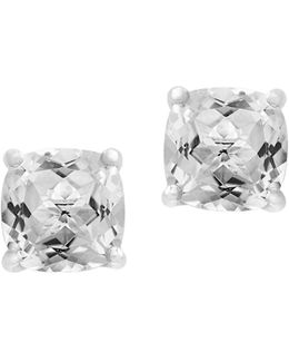 14k White Gold Topaz Stud Earrings