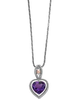 Sterling Silver And 18k Rose Gold Amethyst Pendant Necklace