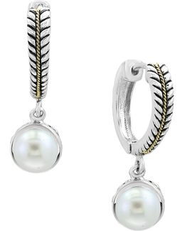 Sterling Silver And 18k Yellow Gold 7mm Cultured Freshwater Pearl Drop Earrings