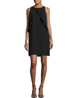 Crossover Ruffle Shift Dress
