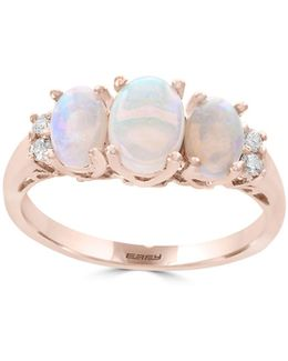 14k Rose Gold Opal And 0.08tcw Diamond Ring