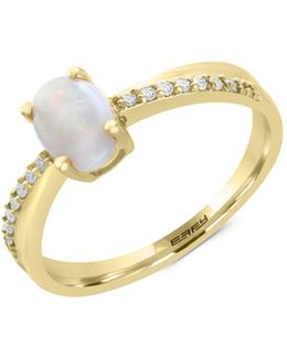 14k Yellow Gold Opal And 0.07tcw Diamond Ring