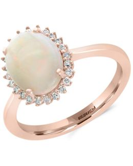 14k Rose Gold Opal And 0.11tcw Diamond Ring