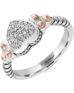 Sterling Silver And 18k Rose Gold 0.08tcw Diamond Ring