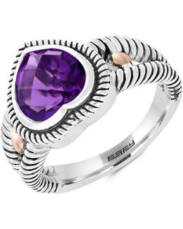 Sterling Silver And 18k Rose Gold Amethyst Ring