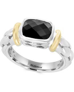 Sterling Silver And 18k Yellow Gold Onyx Ring
