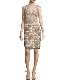 Corded Lace Sleeveless Sheath Dress