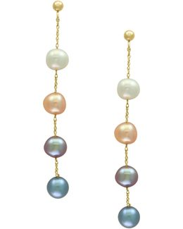 14k Yellow Gold And 5.5mm Dyed Freshwater Pearl Linear Drop Earrings