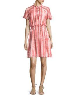 Stripe Ruffle Neck Raglan Dress