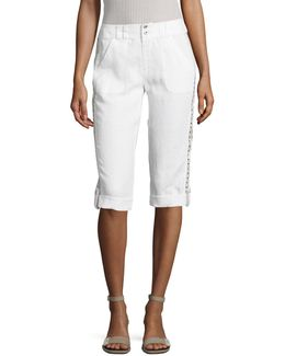 Petite Embroidered Roll-tab Linen Capri Pants